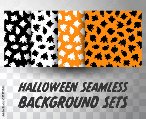 Set of seamless pattern ghosts with different colour background Canvas Print