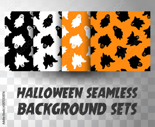 Photo Set of seamless pattern ghosts with different colour background