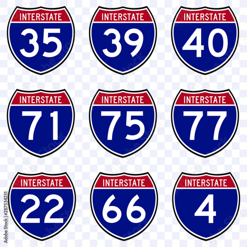 Fotomural USA road traffic transportation sign, interstate american  highway route symbol