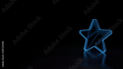 3d glowing wireframe symbol of symbol of star isolated on black background Canvas-taulu