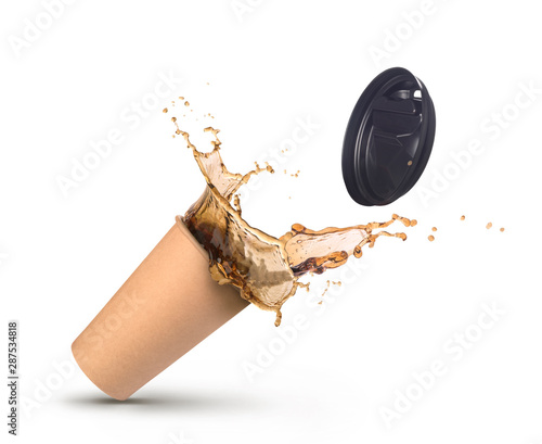 splash of coffee in paper cup isolated Wallpaper Mural