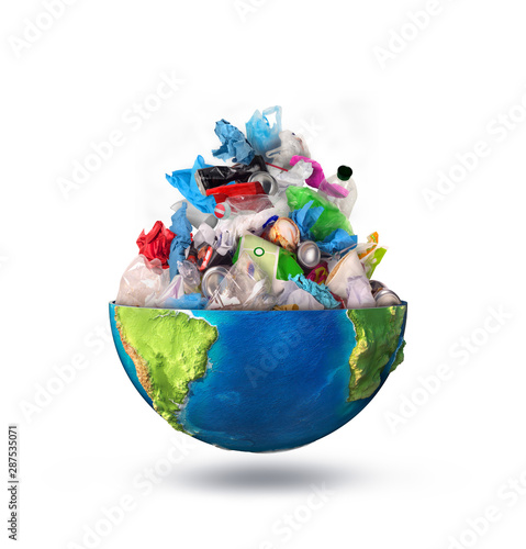 eco concept, heap of garbage inside half of planet, earth Canvas Print