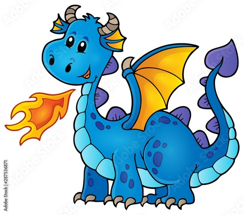 Papiers peints Enfants Blue happy dragon