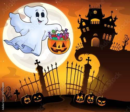 Fotobehang Voor kinderen Halloween ghost near haunted house 5