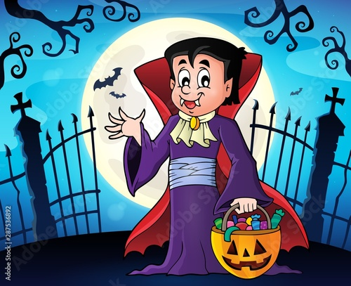 Door stickers For Kids Halloween vampire topic image 1