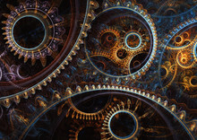 Abstract Mechanical Background, Steampunk Fractal