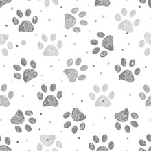 Doodle Grey Paw Prints With Dots, Square And Stars Seamless Fabric Design Repeated Pattern With Black Background