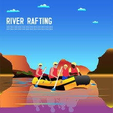 Vector Drawing Of Tourists Engaged In Rafting. Tourists Rafting On The River In A Boat
