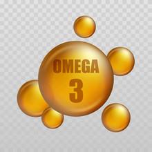 Omega 3. Vitamin Drop, Fish Oil Capsule, Gold Essence Organic Nutrition. Vector Illustration