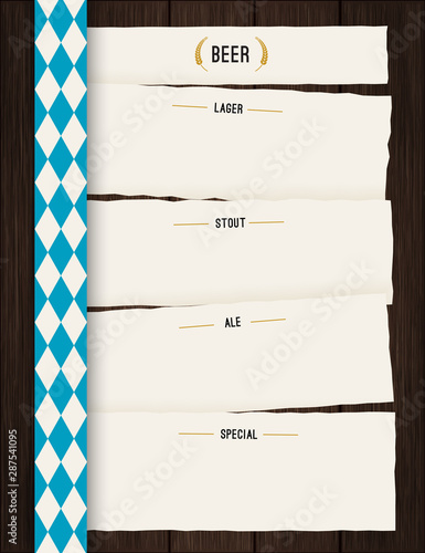 Vector Octoberfest background for beer table menu or flyer. Vintage rustic design with wooden backdrop and rough paper sheets.