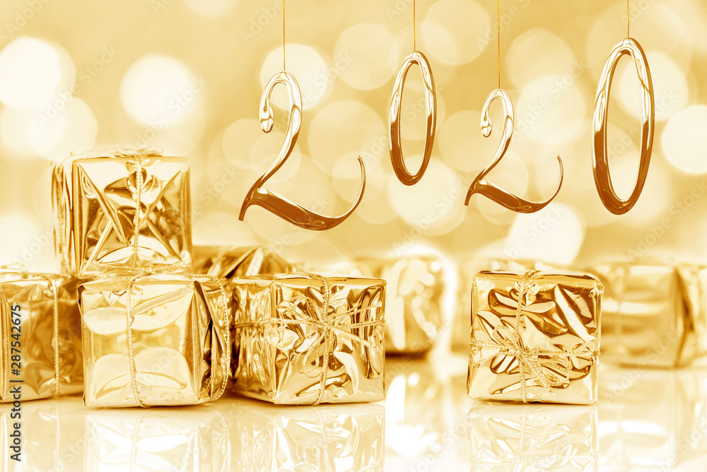 Fototapety, obrazy: 2020, new year card, small Christmas gifts in shiny golden paper, bokeh lights background