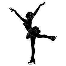 Silhouettes Girls Skaters. Figure Skating. Black And White Illustration Of A Figure Skater. Winter Sport.