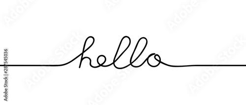Fotografia, Obraz Continuous black line drawing word Hello
