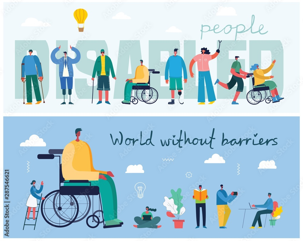 Fototapety, obrazy: Vector background with disabled people, young invalid persons and men and women helping. World without barriers. Flat cartoon characters.