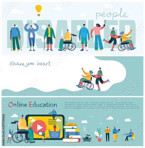 Vector background with disabled people, young invalid persons and men and women helping Canvas Print