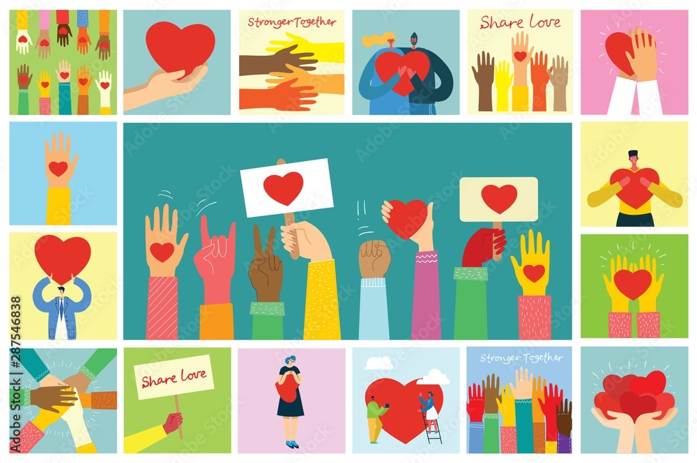 Fototapety, obrazy: Share your Love. People with hearts as love massages. Vector illustration for Valentine's day in the modern flat style