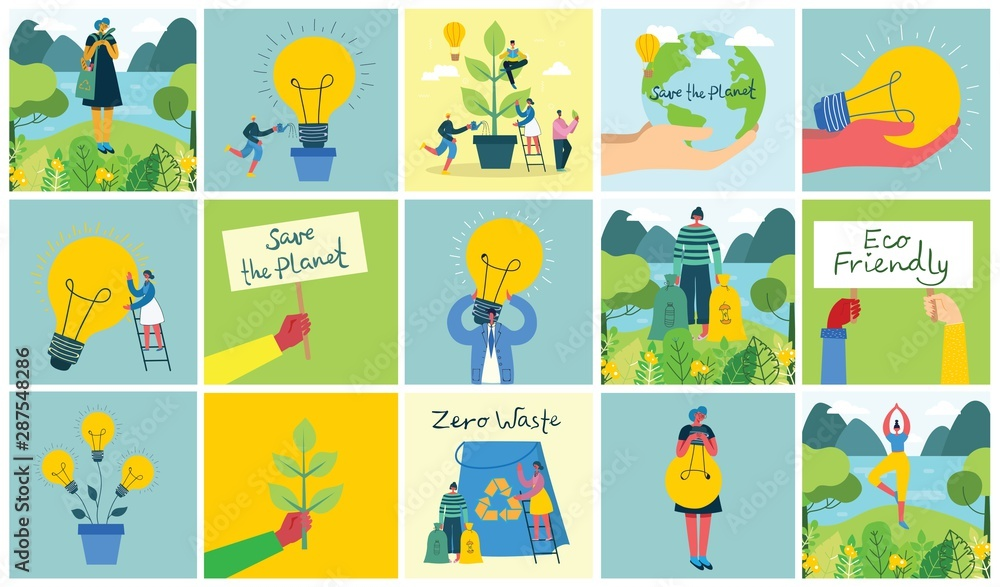 Fototapeta Vector illustration ECO backgrounds of Concept of green eco energy and quote Save the planet and Waste recycle