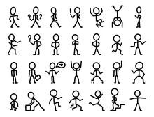Cartoon Icons Set Of Sketch People In Various Poses
