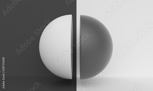 Fotografía  Abstract background with black and white half ball