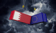 Bahrain and europe trade war concept. Clashing cargo containers. 3D Render