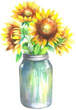 Watercolor Bouquet Of Sunflowers