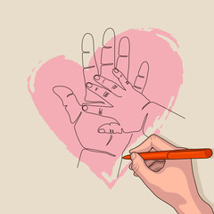 The hand of a child and the hand of an adult. The baby put his hand on his mother's palm. Children's arm and the arm of the parent. Hands on the background of a pink heart.
