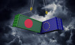 Bangladesh and europe trade war concept. Clashing cargo containers. 3D Render