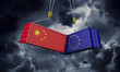 China and europe trade war concept. Clashing cargo containers. 3D Render