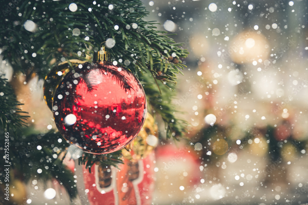 Fototapety, obrazy: Details decorated Christmas tree with red balls, garland. Xmas card and pattern. Close up. Winter.