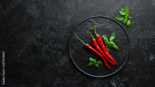 Foto auf AluDibond Hot Chili Peppers Red hot chili peppers. Top view. Free space for your text.
