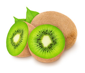 Group of ripe kiwis with leaves isolated on white background.