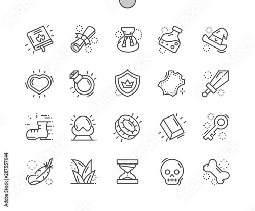 Foto op Canvas Restaurant Fantasy game Well-crafted Pixel Perfect Vector Thin Line Icons 30 2x Grid for Web Graphics and Apps. Simple Minimal Pictogram