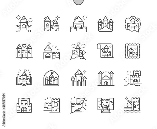 Cuadros en Lienzo Castles and fortresses Well-crafted Pixel Perfect Vector Thin Line Icons 30 2x Grid for Web Graphics and Apps