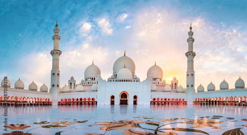 Fototapety, obrazy: Sheikh Zayed Grand Mosque in Abu Dhabi panoramic view