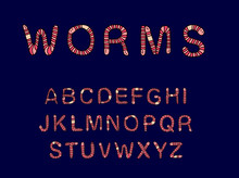 Earthworms Hand Drawn Vector Abc Alphabet In Cartoon Style Cool Type