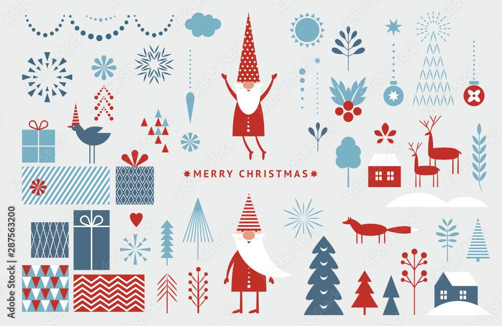 Zestaw elementów graficznych na kartki świąteczne. Gnom, jeleń, choinki, płatki śniegu, stylizowane pudełka na prezenty.