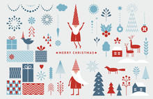 Set Of Graphic Elements For Christmas Cards. Gnome, Deer, Christmas Trees, Snowflakes, Stylized Gift Boxes.
