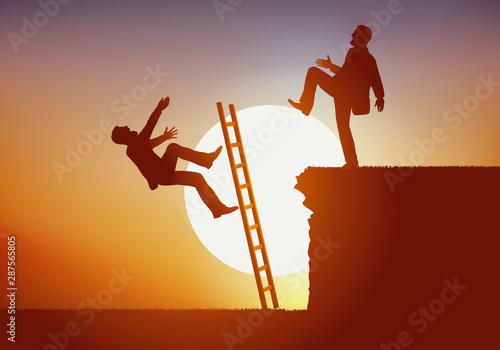 Photo Concept de lutte féroce entre deux hommes en concurrence pour un poste en entreprise