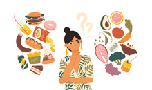 Woman Choosing Between Healthy And Unhealthy Food Concept Flat Vector Illustration. Fastfood Vs Balanced Menu Comparison Isolated Clipart. Female Cartoon Character Dieting And Healthy Eating.