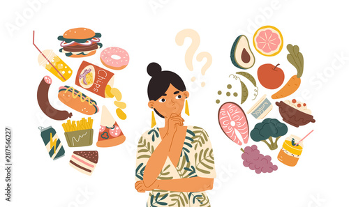 Obraz Woman choosing between healthy and unhealthy food concept flat vector illustration. Fastfood vs balanced menu comparison isolated clipart. Female cartoon character dieting and healthy eating. - fototapety do salonu