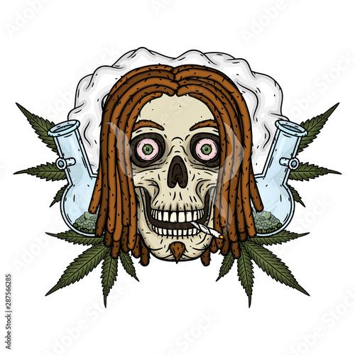 Rastaman Skull. Vector illustration isolated on white background. Canvas Print