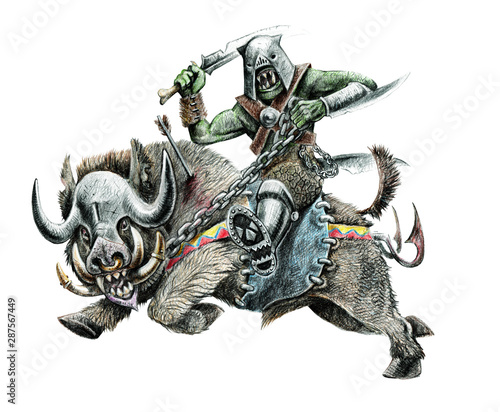 Orc on the boar. Fantasy pencil drawing. Monster creature illustration.