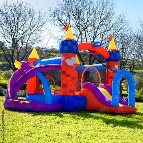 Fotografia Inflatable castle outdoor at sunny summer day.