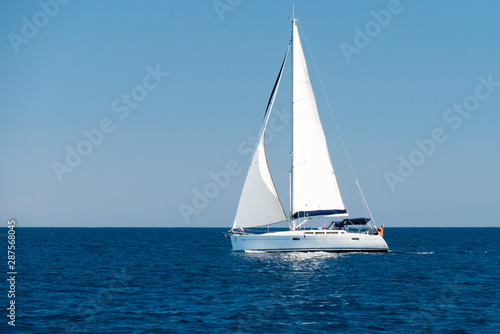 a sailingboat at sea outside the coast of Corsica