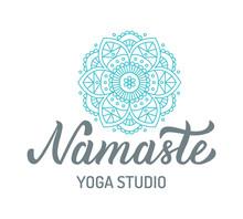 Namaste. Yoga Studio Logo With Mandala Isolated On White Background. Hand Lettering Elements. Vector Illustration.