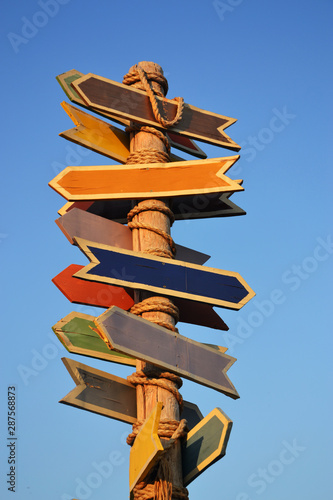colored direction signs Wallpaper Mural