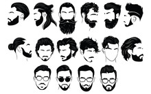 Set Of Hairstyles For Men. Col...