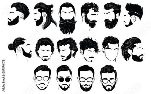 Cuadros en Lienzo Set of hairstyles for men