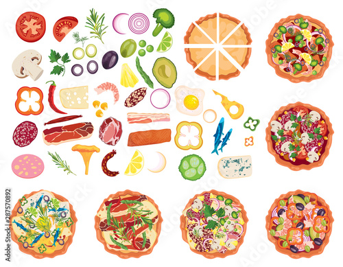 Projektant pizzy. Zaprojektuj zestaw do pizzy. Robienie pizzy. Kolekcja przedmiotów do pizzy. Kreskówki rysunek dla dzieci. Gotowanie. Fast food.
