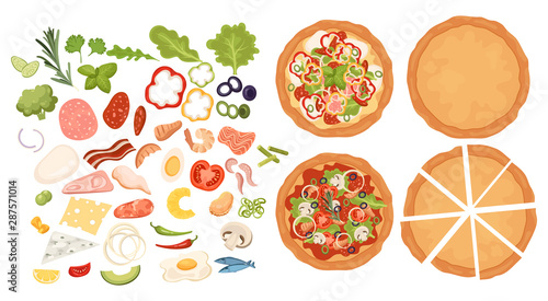 Fototapeta Designer for pizza. Design pizza set. Making pizza. Pizza items collection. Cartoon drawing for children. Cooking. Fast food. obraz